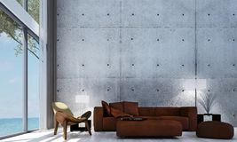 The minimal lounge sofa and living room interior design and concrete wall pattern background. 3d rendering interior design concept idea of  lounge and living Royalty Free Stock Photography
