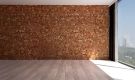 The empty living room interior design and red brick wall pattern background Stock Photo