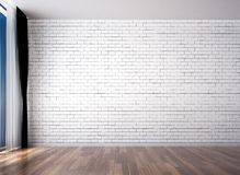 The loft empty living room interior design and brick wall pattern background. 3d rendering interior design of living room Royalty Free Stock Photo