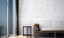 The loft living room interior design and white brick wall pattern background. 3d rendering interior design of living room Royalty Free Stock Image