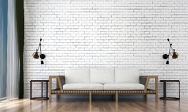 The minimal living room interior design and white brick wall pattern background. 3d rendering interior design of living room Stock Photo