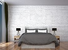 The modern bedroom interior design and red brick wall pattern background. 3d rendering interior design of living room Royalty Free Stock Photos