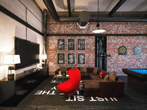 3d rendering of interior design loft style. Stock Photos