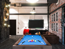 3d rendering of interior design loft style. Stock Images