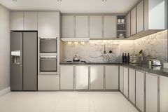 3d rendering beautiful modern kitchen with marble decor Stock Image