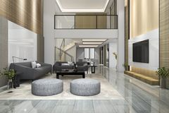 3d rendering double floor wood modern living room and dining room Royalty Free Stock Photography