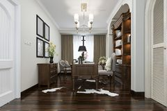 3d rendering european style study room with wood bookshelf. 3d rendering interior and exterior design Stock Image