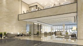 3d rendering luxury hotel reception hall and lounge restaurant. 3d rendering interior and exterior design Stock Photos
