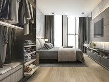 3d rendering luxury modern bedroom suite in hotel with wardrobe and walk in closet Stock Image
