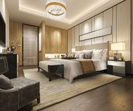 3d rendering luxury modern bedroom suite in hotel with wardrobe and walk in closet. 3d rendering interior and exterior design vector illustration