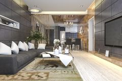 3d rendering luxury and modern living room and dining room Royalty Free Stock Image