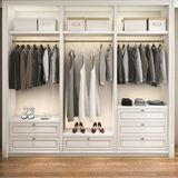 3d rendering modern scandinavian white wood walk in closet with wardrobe. 3d rendering interior and exterior design stock illustration
