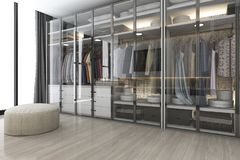 3d rendering modern scandinavian white wood walk in closet with wardrobe near window. 3d rendering interior and exterior design vector illustration