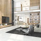 3d rendering wood modern living room and dining room Stock Photo