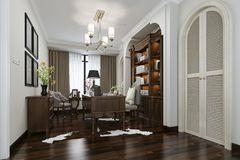 3d rendering european style study room with wood bookshelf. 3d rendering interior and exterior design Royalty Free Stock Image