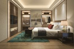 3d rendering luxury modern bedroom suite tv with wardrobe and walk in closet. 3d rendering interior and exterior design royalty free illustration