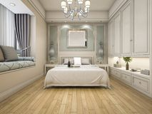 3d rendering modern luxury classic bedroom with vintage built in Royalty Free Stock Photos