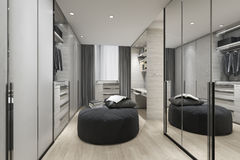 3d rendering black cushion in scandinavian walk in closet with mirror on wardrobe and clothes. 3d rendering interior and exterior design by myself vector illustration