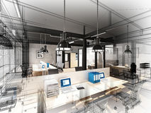 3d rendering of interior office Royalty Free Stock Photo