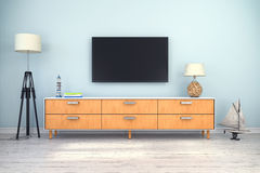 3d rendering - interior of scandinavian living room. With sideboard and flatscreen-TV, maritime decoration Stock Images