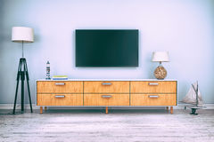3d rendering - interior of scandinavian living room. With sideboard and flatscreen-TV, maritime decoration Stock Photos