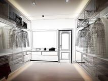 3d rendering of interior walk-in closet Stock Images