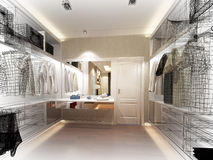 3d rendering of interior walk-in closet Stock Images