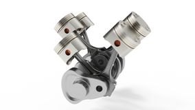 3d rendering of an internal combustion engine. Engine parts pistons, camshaft, chain, valves and other mechanical parts royalty free illustration