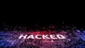 3D Rendering of Internet cyber attack. Hacked text with glitch effect on stream of binary data background. stock photography