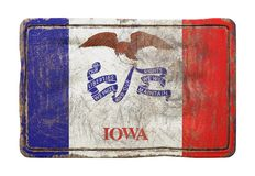Old Iowa State flag. 3d rendering of an Iowa State flag over a rusty metallic plate. Isolated on white background Royalty Free Stock Photography