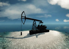 3D Rendering Island Oil Pump Stock Images