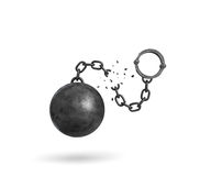 3d rendering of an isolated ball and chain broken in half with a detached shackle. Getting out. Prison break. Fight restrictions Royalty Free Stock Photos
