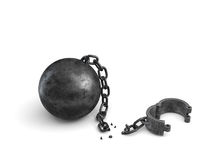 3d rendering of an isolated ball and chain lying broken near a leg shackle. Business boundaries. Freedom and rights. Legal help Royalty Free Stock Photography