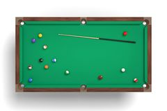 3d rendering of an isolated billiard table in a top view with one cue stick and many colorful balls lying around. Game overview. Game strategy. Pool equipment Stock Photography