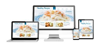 Devices isolated mockup healthy recipes. 3d rendering of isolated devices with healthy recipes on screen. All screen graphics are made up Stock Photo