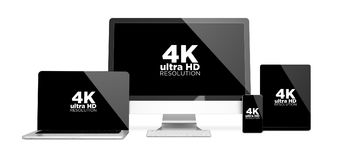 Devices isolated mockup 4k. 3d rendering of isolated devices with 4K ultra HD resolution screen. All screen graphics are made up Stock Photography