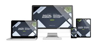 Devices isolated mockup digital agency. 3d rendering of isolated devices showing responsive digital agency website on screen. All screen graphics are made up Stock Images