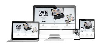 Devices isolated wedesign. 3d rendering of isolated devices showing responsive website on screen. All screen graphics are made up stock photo