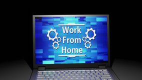 3D rendering isolated Laptop with Work From Home Abstract Screen Display on the floor in the Dark room with one light source