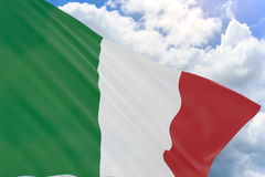 3D rendering of Italy flag waving on blue sky background Royalty Free Stock Images