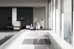 A 3D rendering of jacuzzi with floor to ceiling windows Royalty Free Stock Photography
