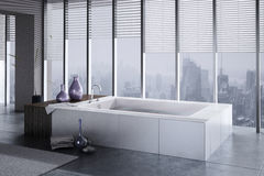 A 3D rendering of jacuzzi with floor to ceiling windows Royalty Free Stock Images