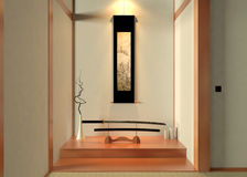 3D rendering Japanese decoration. Japanese living room decoration scene created by 3ds Max 2014 Royalty Free Stock Photography