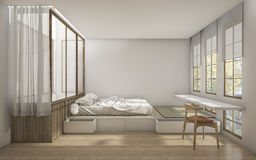 3d rendering japanese style bedroom with minimal decoration Royalty Free Stock Photo
