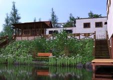 3D Rendering jeziora dom Fotografia Royalty Free