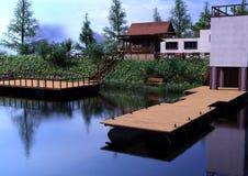 3D Rendering jeziora dom Fotografia Stock