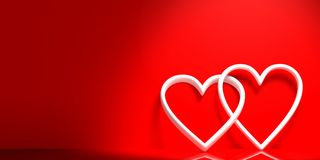 3d rendering joined hearts on red background. 3d rendering white joined hearts on red background Stock Image