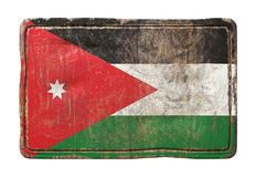 Old Jordan flag. 3d rendering of a Jordan flag over a rusty metallic plate. Isolated on white background Stock Photography