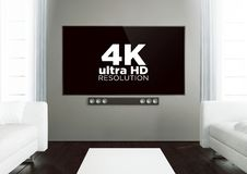Wooden living room with 4k at smart tv. 3d rendering of 4k on smart tv on a wooden living room Royalty Free Illustration