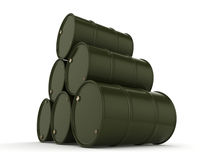 3D rendering khaki barrels Stock Photo